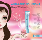 Vector Illustration with Manga style girl and Retinol cream tube. Retinol anti-aging cream ads. Vector Illustration with Manga style girl and Vitamin A cream Stock Image