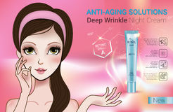 Vector Illustration with Manga style girl and Retinol cream tube. Retinol anti-aging cream ads. Vector Illustration with Manga style girl and Vitamin A cream Royalty Free Stock Photography