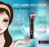 Vector Illustration with Manga style girl and Retinol cream tube. Retinol anti-aging cream ads. Vector Illustration with Manga style girl and Vitamin A cream Royalty Free Stock Image