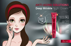 Vector Illustration with Manga style girl and Retinol cream tube. Stock Photos