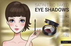 Vector Illustration with Manga style girl and set color palette with eye shadows. stock images