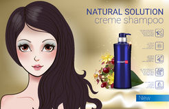Vector Illustration with Manga style girl and shampoo bottle. Herbal Shampoo ads. Vector Illustration with Manga style girl and shampoo bottle Royalty Free Stock Photo