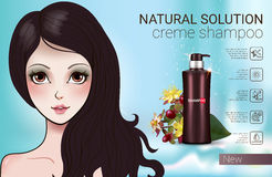 Vector Illustration with Manga style girl and shampoo bottle. Herbal Shampoo ads. Vector Illustration with Manga style girl and shampoo bottle Stock Image