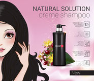 Vector Illustration with Manga style girl and shampoo bottle. Herbal Shampoo ads. Vector Illustration with Manga style girl and shampoo bottle Royalty Free Stock Photography