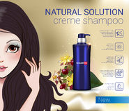 Vector Illustration with Manga style girl and shampoo bottle. Herbal Shampoo ads. Vector Illustration with Manga style girl and shampoo bottle Royalty Free Stock Image