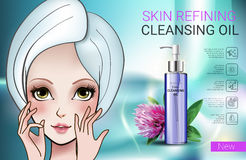 Vector Illustration with Manga style girl and skin cleansing oil. Deep Cleansing Oil ads. Vector Illustration with Manga style girl and skin cleansing oil bottle Royalty Free Stock Image