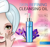 Vector Illustration with Manga style girl and skin cleansing oil. Deep Cleansing Oil ads. Vector Illustration with Manga style girl and skin cleansing oil bottle Stock Photo