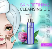 Vector Illustration with Manga style girl and skin cleansing oil. Deep Cleansing Oil ads. Vector Illustration with Manga style girl and skin cleansing oil bottle Stock Images