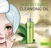 Vector Illustration with Manga style girl and skin cleansing oil. Deep Cleansing Oil ads. Vector Illustration with Manga style girl and skin cleansing oil bottle Royalty Free Stock Images