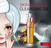 Vector Illustration with Manga style girl and skin cleansing oil. Deep Cleansing Oil ads. Vector Illustration with Manga style girl and skin cleansing oil bottle Stock Image