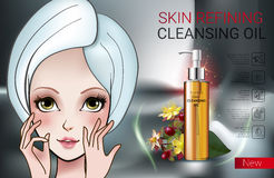 Vector Illustration with Manga style girl and skin cleansing oil. Deep Cleansing Oil ads. Vector Illustration with Manga style girl and skin cleansing oil bottle Royalty Free Stock Photo