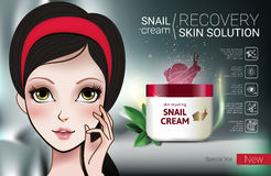 Vector Illustration with Manga style girl and snail cream container. Skin Repairing Snail Cream ads. Vector Illustration with Manga style girl and snail cream Stock Photo