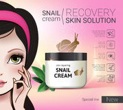 Vector Illustration with Manga style girl and snail cream container. Skin Repairing Snail Cream ads. Vector Illustration with Manga style girl and snail cream Royalty Free Stock Images