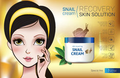 Vector Illustration with Manga style girl and snail cream container. Skin Repairing Snail Cream ads. Vector Illustration with Manga style girl and snail cream Royalty Free Stock Photography