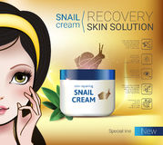 Vector Illustration with Manga style girl and snail cream container. Skin Repairing Snail Cream ads. Vector Illustration with Manga style girl and snail cream Stock Images