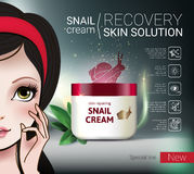 Vector Illustration with Manga style girl and snail cream container. Skin Repairing Snail Cream ads. Vector Illustration with Manga style girl and snail cream Royalty Free Stock Image