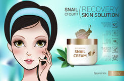 Vector Illustration with Manga style girl and snail cream container. Skin Repairing Snail Cream ads. Vector Illustration with Manga style girl and snail cream Royalty Free Stock Photos