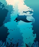 Vector illustration with mantas, freediver and corals. Silhouette of manta, freediver and corals on a blue sea background. Vector illustration with marine life Royalty Free Stock Images