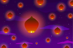Vector illustration. Many Chinese lanterns in the sky at sunset, against a background of clouds and stars Stock Photo