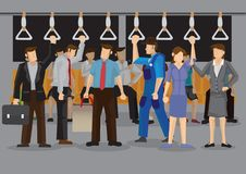 Inside a Crowded Metro During Peak Hours Cartoon Vector Illustra Royalty Free Stock Photos