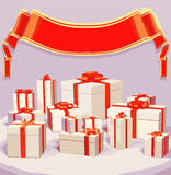 Vector illustration of many gift boxes over  background with red ribbon. 3d illustration Stock Photo