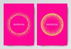 Vector illustration Many gold shiny glitter confetti on pink background Abstract backdrop template. Gold background Vector illustration Many gold shiny glitter vector illustration