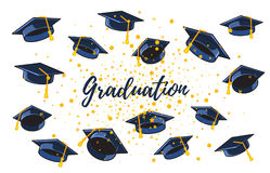Vector illustration of many graduate caps and confetti on a whit. E background with text. Congratulation graduates. Caps thrown up. Design of greeting, banner stock illustration