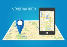 Vector illustration. Map. The concept of mobile navigation, deli. Map. The concept of mobile navigation, delivery. Location on the map. Vector illustration Royalty Free Stock Image