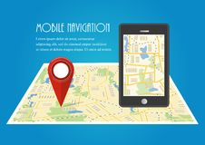 Vector illustration. Map. The concept of mobile navigation, deli. Map. The concept of mobile navigation, delivery. Location on the map. Vector illustration Stock Photos