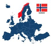 Vector illustration of a map of Europe with highlighted Norway Royalty Free Stock Image