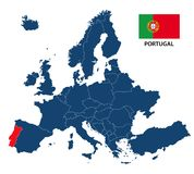 Vector illustration of a map of Europe with highlighted Portugal stock illustration
