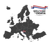 Vector illustration of a map of Europe with the state of Croatia. In the appearance of the Croatian flag and Croatian ribbon isolated on a white background Royalty Free Stock Images