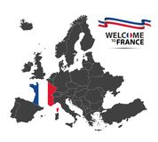 Vector illustration of a map of Europe with the state of France. In the appearance of the French flag and French ribbon isolated on a white background Royalty Free Stock Image