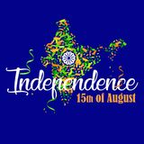 Indian Independence Day 7. Vector illustration map of India with saffron and green color confetti and Ashoka Whee for 15th August. Independence Day of India Stock Illustration