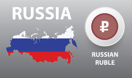 Vector illustration of map of the Russia, the button with the cu Stock Image