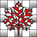 Vector illustration maple leaf on chess board in mosaic style. Stock Photography