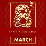 Vector illustration of 8 march. Festive design of 8 march. Greeting card for International Womens Day. Happy Women`s Day. Vector illustration Royalty Free Stock Image