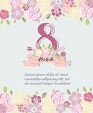 Vector illustration with 8 March and flowers. Template for Women`s day card stock illustration