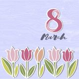 Vector illustration with 8 March and flowers. Template for Women`s day stock illustration