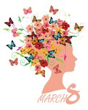 8 March Floral Card Woman Head Silhouette Royalty Free Stock Photography