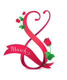 Vector illustration of 8 march womens day greeting. In cartoon style with red ribbon, curved eight, pink roses and lettering text sign isolated on white vector illustration