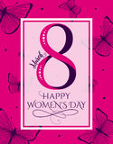 Vector illustration of 8 march womens day greeting. Vector illustration of stylish 8 march womens day greeting card with lettering typography text sign, big stock illustration