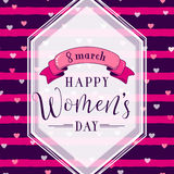 Vector illustration of 8 march womens day greeting. Vector illustration of stylish 8 march womens day greeting card with lettering typography text sign, hearts Royalty Free Stock Photography