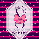 Vector illustration of 8 march womens day greeting. Vector illustration of stylish 8 march womens day greeting card with lettering typography text sign, hearts Stock Photography
