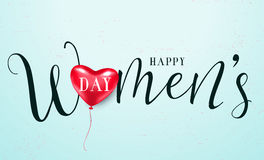 Vector illustration of 8 march womens day greeting. Vector illustration of stylish 8 march womens day with lettering text sign and red heart balloon for greeting Stock Image