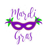 Vector illustration of Mardi Gras background with typography text. For greeting card, banner, gift packaging, sale or party templates for fat tuesday, carnival Stock Photo