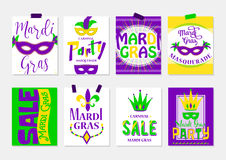Vector illustration of mardi gras greeting cards, sale and party flyer Royalty Free Stock Image