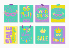 Vector illustration of mardi gras greeting cards, sale and party flyer Stock Image