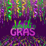 Vector illustration of Mardi Gras holiday greeting card with serpentine ribbons Stock Photography