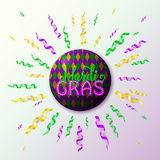 Vector illustration of Mardi Gras holiday greeting card with serpentine ribbons Stock Photo